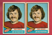 2 X 1974-75 OPC # 225 RED WINGS JIM RUTHERFORD GOALIE CARD