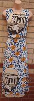 JUMPO CREAM BLUE ORANGE FLORAL PANTHEON PRINT PAISLEY LONG MAXI TEA DRESS 12 M