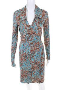 Diane Von Furstenberg Womens Silk Snakeskin Print Wrap Dress Blue Brown Size 2