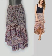 MONSOON Jakarta Floral Print Asymmetric Embellished Hem Cotton Skirt size-M