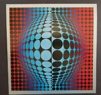 """Victor Vasarely """"Vega-Fel"""" Mounted Offset Color Lithograph 1971"""