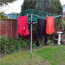 4 Arm Rotary Garden Washing Line Clothes Airer Dryer Ground Spike 40M + Cover UK