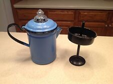 Vintage Enamelware Coffe Pot With Insert and Glass Perculator Top Blue W/ Black