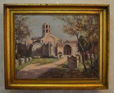 """IZIER Jules (XIX-XXe) """"Les Alyscamps et la chapelle St-Honorat à Arles"""" Provence"""