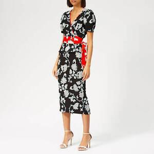 DIANE VON FURSTENBERG DVF Kara Black Floral Flower Skirt UK 8