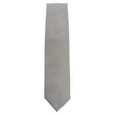 More details for chef works tie silver and black fine stripe [a886]