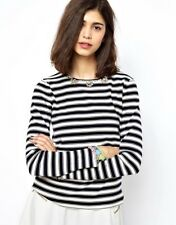 $294 Essentiel Antwerp L Top Sweater Anthro ASOS Striped Embellish Long Sleeve