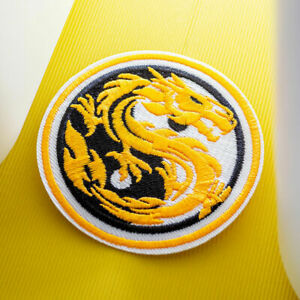 Yellow Dragon Patch YinYang Embroidered Sew On Iron On Badge Fabric Craft Shirt