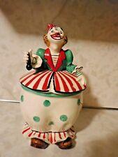 "1957 Yona Original Lidded Clown Cookie Jar/Candy Dish 10"" Tall"