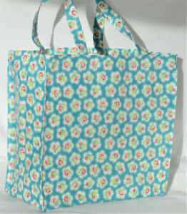 Handmade 100% Cotton Oilcloth shoulder tote Bag-Cath Kidston Provence Rose- Teal