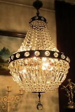 Antique Vnt. French Basket style swarovski Crystal Chandelier Lamp Light 1940's