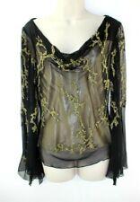 Cache' Women's Medium Black Silk Sheer Beaded Angel Sleeve Cowl Neck Blouse $189