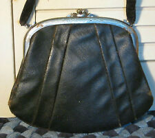 Antique 1800 Civil War Era Black Oilcloth Purse w Etched Steel Frame Really Old