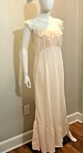 Vintage Lingerie Gown Pink Lace 1950s Dora Gottlieb 36 nylon Sweetheart Long EC