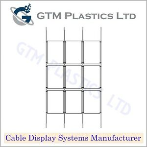 A3 Portrait 3x3 - Estate Agent Cable Window Display - Suspended Wire Hanging Kit