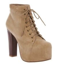 Jeffrey Campbell Lita Boots Taupe Suede Leather Platform Lace Wood Heel Size 8