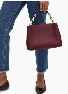 New Kate Spade aubrey chain top handle satchel crossbody bag Cherrywood Gift