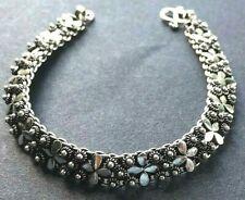 SOLID SILVER BRACELET *BN* beautiful flower detail, .925 silver, 18.5cm *PIKUN*