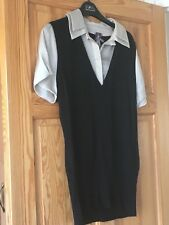 Next Ladies Black Short Sleeved Button Down Collar Top UK Size 16