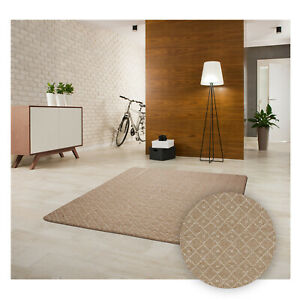 Kurzflor Teppich Wohnzimmer Pflegeleicht Gummiunterlage Beige Rutschfest Modern
