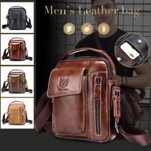 Genuine Leather Shoulder Bag Cowhide Vintage Chest Backpack Messenger Wallet Bag