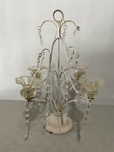 Antique Chandelier Cast Metal Ornate Glass Flowers *Turned To Decor Item No Wire