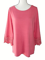 Charter Club Size M Oversized Pink Flared Crochet Sleeve Knit Top