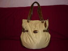 NEU! L.CREDI- beige-braun Tasche Textil+Lederimitat RVerschluß-HFach+Details