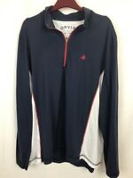 bc969b844e1c3 Orvis Pullover Zip Blue and White Athletic Shirt Large Men s