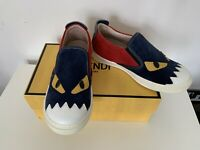 Boys Fendi Trainers Size 13.5 (EU 32) Slip On Leather BNIB RRP £270