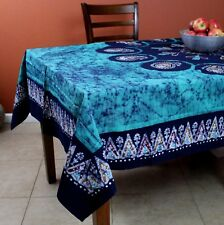 Multi Batik Floral Paisley Tablecloth Rectangular Cotton 60x90 Emerald Green