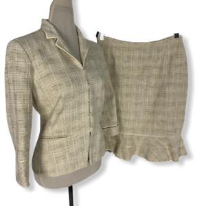 Kasper Women Beige Tweed 2 Pc Ruffle Hem Skirt Suit Set Size 6