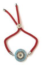 ZARD Evil Eye Charm Red Satin Cotton Cord CZ Mosaics Adjustable Slider Bracelet