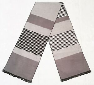 VINTAGE AUTHENTIC GEOMETRIC GRAY SILK LONG SCARF