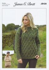 Chunky Knitting Pattern Ladies Cable Knit Jumper Sweater James Brett DK JB428