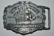Vintage Aged 1970s Livingston Wells & Co Gold Dealers Pirate Ship Belt Buckle