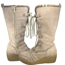 """ROXY """"Timber"""" Cream Suede Lace Up Wedge Mid Calf Boots- Size 8.5"""