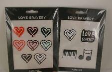 Love Bravery Lady Gaga Elton John Plushie Sticker Patch 2 Sets Hearts Piano NWT