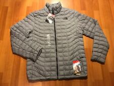 THE NORTH FACE THERMOBALL Puffer Jacket Men's Large L Light Gray Full Zip New