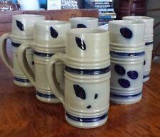 6 Salt Glaze Handmade Cobalt Blue Decorated Stein Tankard Mug *Mint*