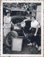 Tomboy Women Mechanics Repair Hand Crank 1920s Hupmobile Sedan Automobile Photo