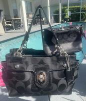 COACH PEYTON Black Signature Handbag Leather Shoulder Tote Purse 14507 +wristlet