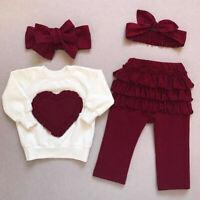 3PCS Newborn Kids Baby Girl Autumn Clothes Cotton Tops Sweatshirt Pants Outfits