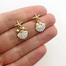 Gold & White Seashell Starfish Pearl Ocean Small Drop Earrings Blogger UK Seller