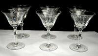 Six Matched Vintage Etched Cut Wine Glasses Stems Elegant Beautiful Crystal