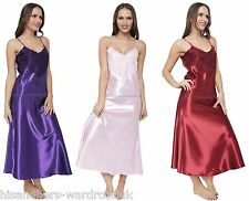 Ladies Womens Satin Long Nightdress Nightie Front Lace Detail 8 To 28| 8 Colours