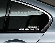 Powered by AMG Mercedes Benz Sport Racing Window Decal sticker emblem WHITE Pair
