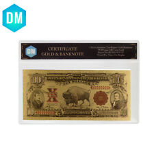 Holiday Gifts US 1901 Year Colorful 24k Gold Foil Banknote with Plastic Case