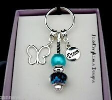 Beautiful Butterfly Dream Frangipani Flowers & Aqua Bead Keyring Key Ring