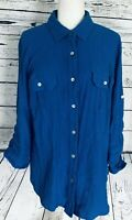 Woman Within Large Blouse Blue Button Down 3/4 Sleeves Soft Textured
